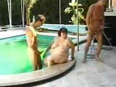big beautiful woman fucked round pool by 2 lads