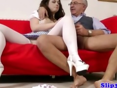 glamorous brunette fucked by old man