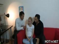 cute gal receives banged