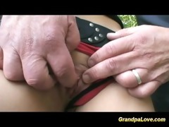 grand-dad fucking a wonderful brunette babe and