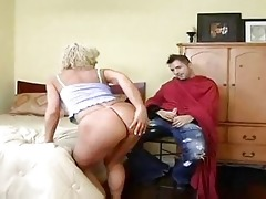 sexy blonde cougar bangs younger after haircut