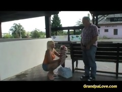old dude blackmails cute golden-haired slut for