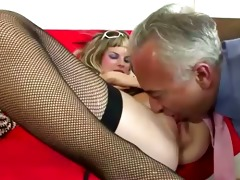 older guy fucks youthful blond in stockings