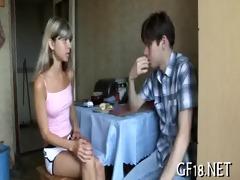 sweet-looking teen gal takes hard wang