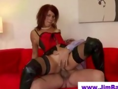 redhead in leather boots screwed by old boy
