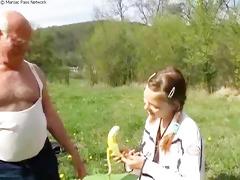 aged man copulates teeny outdoors