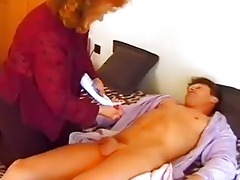 aged tart jumps into bed with young man