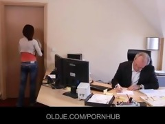 youthful secretary seduces her old boss