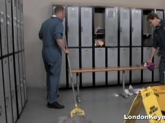 girls receive fucked by janitors in the shower